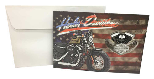 Harley-Davidson® American Flag Greeting Card & Winged V-Twin Pin Set 151849