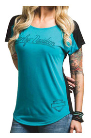Harley-Davidson® Women's Street Iron Colorblocked Tee, Teal & Black 5XS1-HB6X