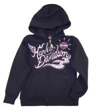 Harley-Davidson® Girls' Glittery Blossom Beauty Zippered Sweatshirt 5255-HB47