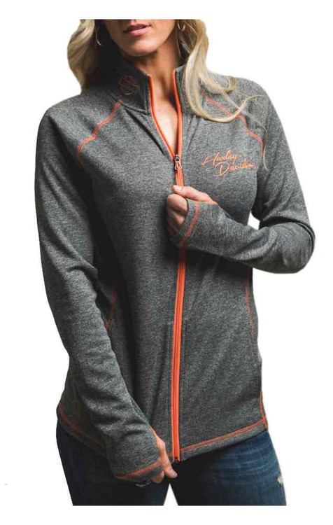 Harley-Davidson® Women's Performance Zip Mock Neck Sweatshirt, Gray H666-HB83 (H666-HB83)