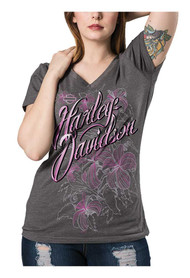 Harley-Davidson® Women's Oasis Flowered Foil H-D Script Short Sleeve Tee, Gray