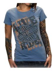 Harley-Davidson® Women's Bar & Shield Anarchy Short Sleeve Tee, Heritage Blue
