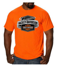 Harley-Davidson® Men's Genuine Label B&S Short Sleeve T-Shirt, Safety Orange