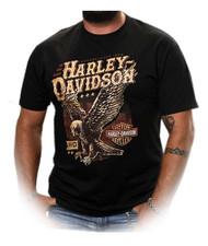 Harley-Davidson® Men's Landed Up-Wing Eagle Short Sleeve T-Shirt, Solid Black