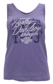 Harley-Davidson® Women's Crossed Flag Shimmer V-Neck Tank Top, Purple Haze