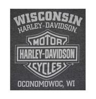 Harley-Davidson® Men's Winged Skull Engine Short Sleeve T-Shirt, Charcoal Gray