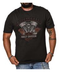 Harley-Davidson® Men's Knucklehead Motor B&S Short Sleeve T-Shirt, Tar Gray