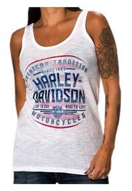 Harley-Davidson® Women's American Tradition Burnout Sleeveless Tank Top, White