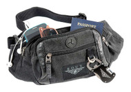 ROUT Voyager Waistpack, Washed Black Cotton Canvas & Leather Trim RC10576