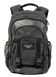 ROUT Voyager Day Backpack, Washed Cotton Canvas & Leather Trim, Black RC10553