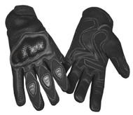 Redline Men's Vented Sports Full-Finger Gloves w/ Hard Kevlar, Black G-068