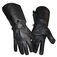 Redline Men's Gauntlet Style Soft Fleece Lining Leather Gloves, Black G-053