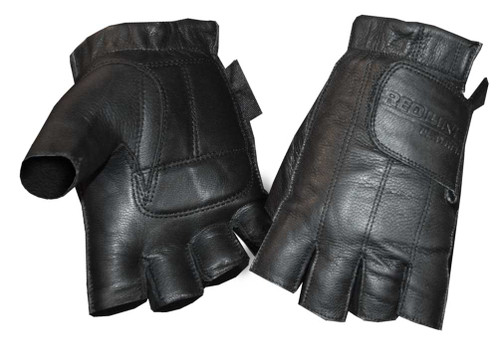 Redline Womens Gel Padded Leather Fingerless Motorcycle Gloves
