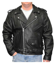 Redline Men's Classic Biker Style Side Lace Leather Motorcycle Jacket M-800