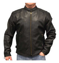 Redline Men's Distressed Leather Touring Motorcycle Jacket w/ Liner, Black M-600