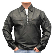 Redline Men's Lightweight Lace Up Front Leather Riding Shirt, Black M-1900