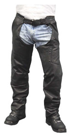 Redline Men's Heavy Weight Black Buffalo Leather Motorcycle Chaps M-1700