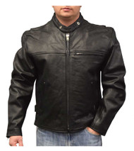 Redline Men's Lightweight Zip Out Liner Cowhide Leather Jacket, Black M-300