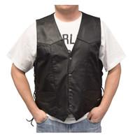 Redline Leather Men's Buffalo Milled Leather Motorcycle Vest, Black M-125