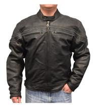 Redline Men's Reflective Piping Zip Front Leather Motorcycle Jacket, Black M-88