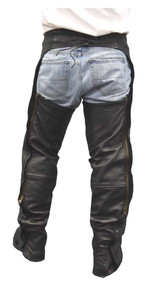 Redline Mens Goat Skin Leather Motorcycle Chaps w/ Snap-Out Gator Liner M-1700GS