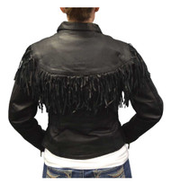 Redline Women's Mid-Weight Fringe Goat Leather Motorcycle Jacket, Black L-3225