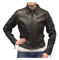 Redline Women's Goat Leather Black Reflective Piping Motorcycle Jacket L-3250BR