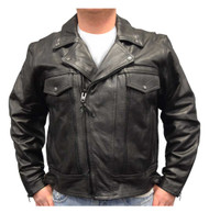 Redline Men's Leather Zipper Touring Motorcycle Riding Jacket, Black M-1050
