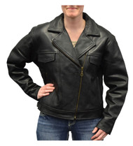Redline Women's Naked Goat Skin Leather Motorcycle Jacket, Black L-HARLEY