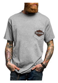 Harley-Davidson® Men's Original Option Chest Pocket T-Shirt, Steel Gray 5508-HE9B