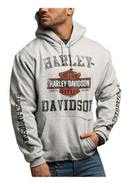 Harley-Davidson® Men's Tranquil Road B&S Hooded Sweatshirt, Steel Gray 5642-HE21