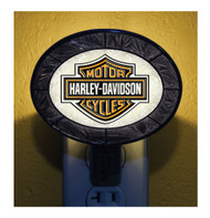 Harley-Davidson® Hand-Painted Art-Glass Bar & Shield Nightlight, Black HD-HDB-246