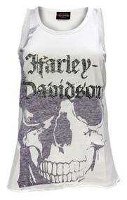 Harley-Davidson® Women's Embellished H-D Skull Sleeveless Tank Top, White