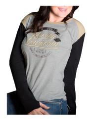 Harley-Davidson® Women's Cannibal Colorblocked Crew Neck Long Sleeve Shirt