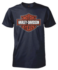 Harley-Davidson® Men's Rust Bar & Shield Short Sleeve Tall T-Shirt, Navy Blue