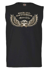 Harley-Davidson® Men's Ascending Winged Skull Sleeveless Muscle Tee, Black