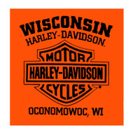 Harley-Davidson® Men's Assertive Wing V-Twin Sleeveless Muscle Tee, Bright Orange