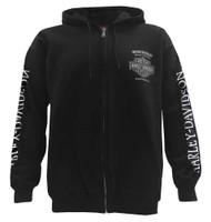 Harley-Davidson® Men's Loco Skull Full-Zip Hooded Sweatshirt, Solid Black