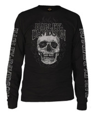 Harley-Davidson® Men's Skull Fire H-D Script Long Sleeve T-Shirt, Solid Black