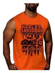 Harley-Davidson® Men's Generation Bike Sleeveless Muscle Tee, Bright Orange