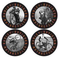 Harley-Davidson® Vintage Riders Thin Neoprene Coaster Set, 4 Pack, 4 inch CS19030