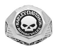 Harley-Davidson® Mens Sculpted Willie G Skull H-D Ring, Sterling Silver HDR0441