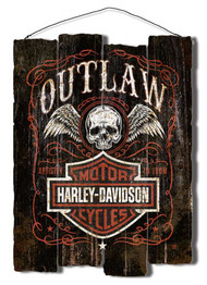 Harley-Davidson® Outlaw Staggered Fence Cut-Out Wooden Sign Black CU91-OL-AD-HARL