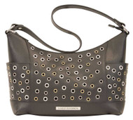 Harley-Davidson® Women's Eyelet Leather Shoulder Purse, Black EG8602L-BLACK