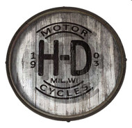 Harley-Davidson® Distressed H-D Logo Wooden Barrel End w/ Metal Rim, BE-HD-HARL