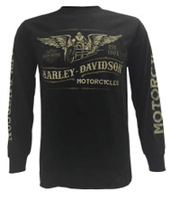 Harley-Davidson® Men's Shirt, Vintage Winged Bike Long Sleeve, Black 30293505