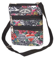 Harley-Davidson® Women's  X-Body Crossbody Sling Purse, Tattoo Print 99616-TAT
