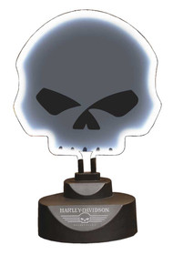 Harley-Davidson® Willie G Skull Tabletop Neon Desk Light, White Neon HD-HD-916