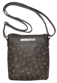Harley-Davidson® Women's Eyelet Leather Crossbody Purse, Black EG8616L-BLACK