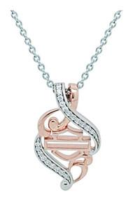 Harley-Davidson® Women's Rose Gold & Silver Bling Filigree Necklace HDN0361-18